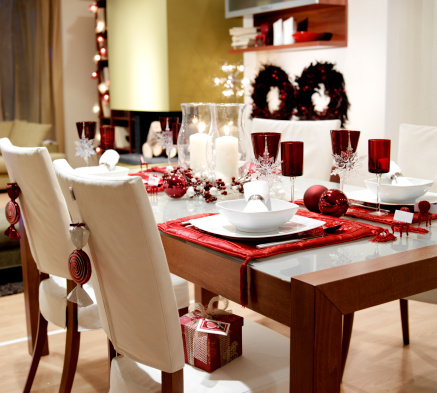 Winter holiday themed dining table