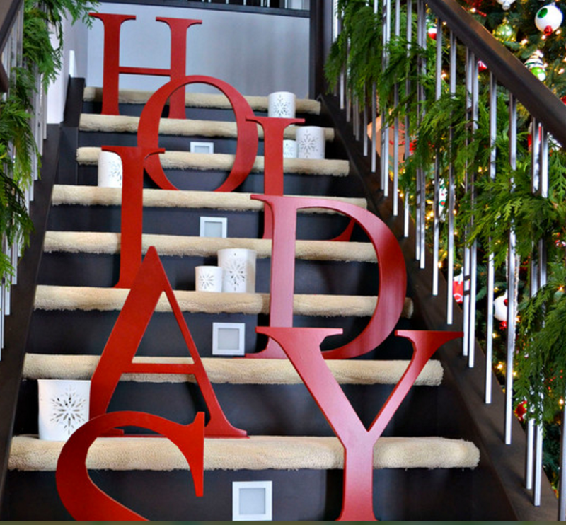 Decorated staircase with the word holidays